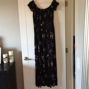 Off the shoulder knit floral dress